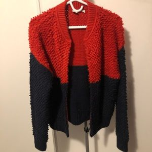 GAP Colour Block Sherpa/Fuzzy Cardigan Sweater M
